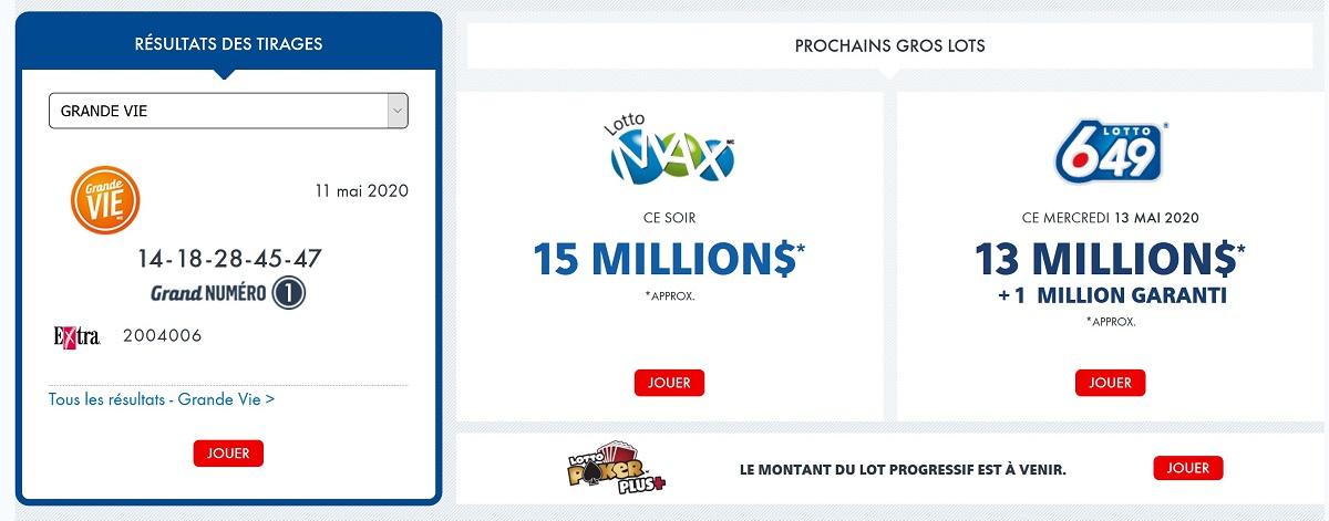 Les prochains tirages de loterie au Québec