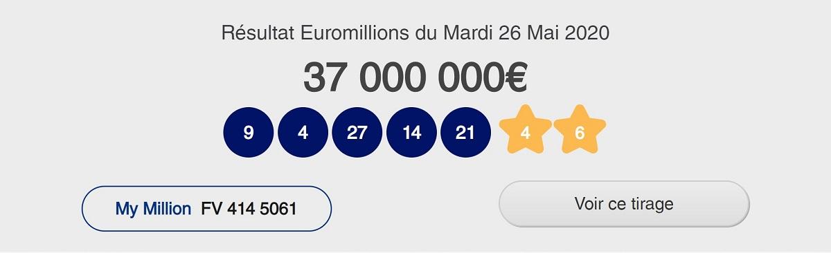Résultat Euromillions ce mardi 26 mai 2020
