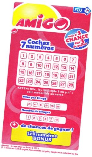 Une grille de la loterie Amigo FDJ