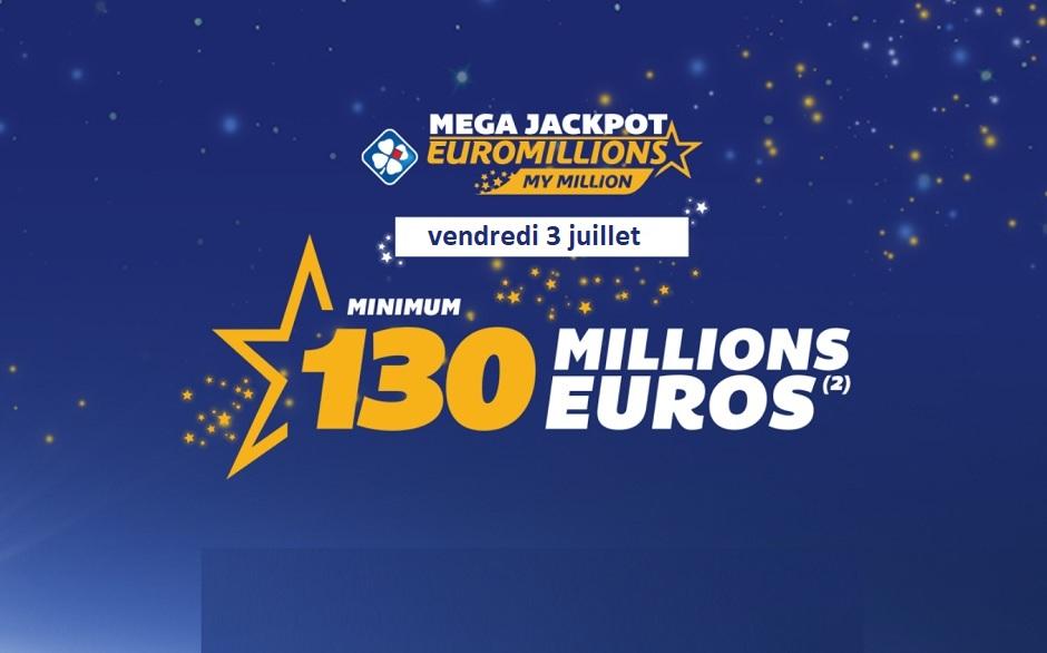 Mega Jackpot Euromillions du vendredi 3 juillet 2020