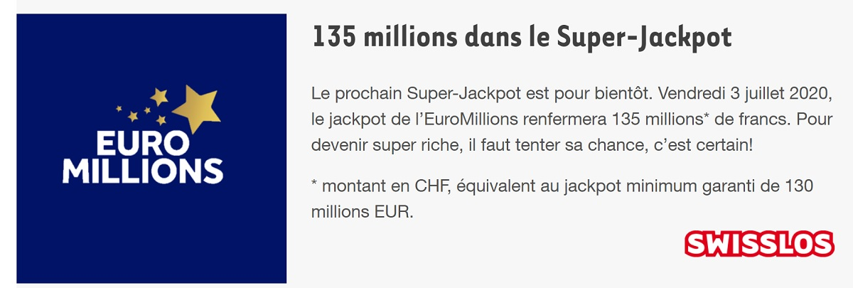 super jackpot Euromillions de 135 millions de francs suisse