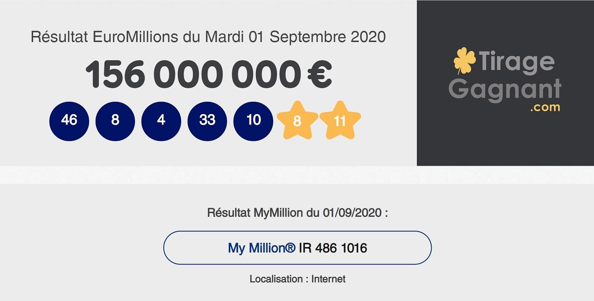 Combinaison gagnante du tirage Euromillions ce mardi 1er septembre 2020