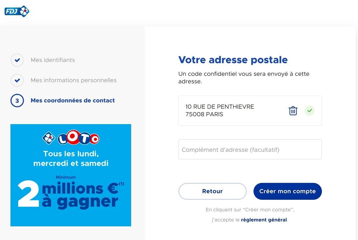 Formulaire d'inscription FDJ.fr : votre adresse postale et validation