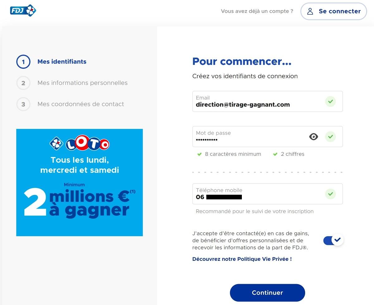 Formulaire d'inscription FDJ.fr : étape n°1