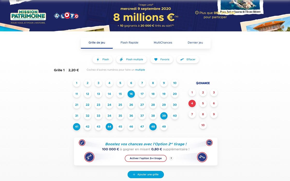 grille du Loto du Partrimoine en ligne sur FDJ.fr