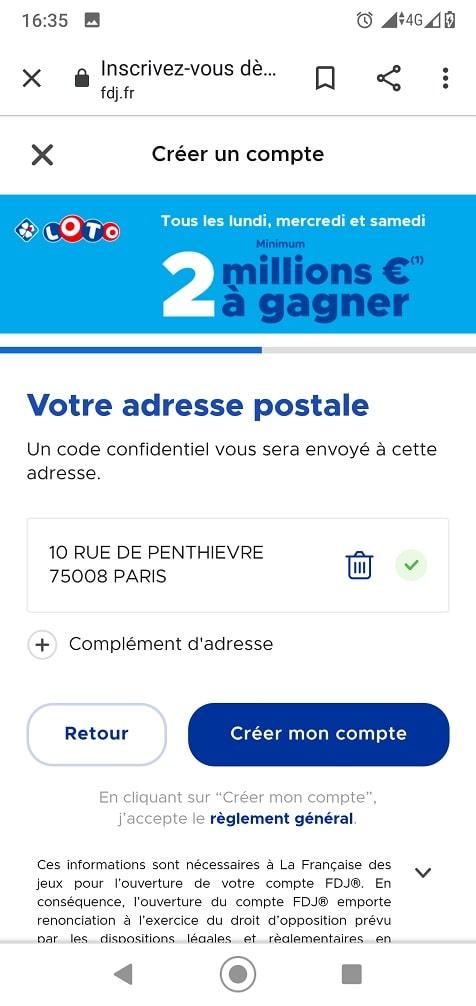 Formulaire d'inscription FDJ mobile : adresse postale et validation définitive