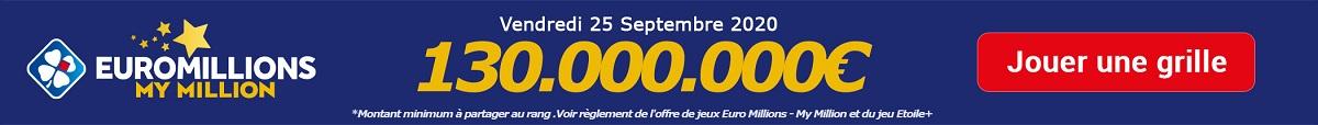 jouer a Euromillions ce vendredi 25 septembre 2020