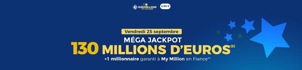 Mega Jackpot Euromillions ce vendredi 25 septembre 2020
