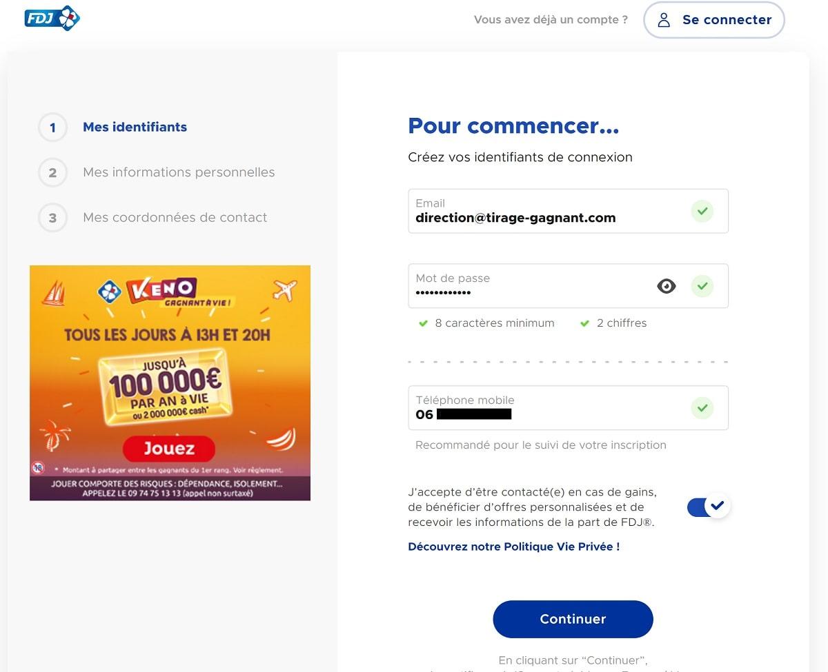 Inscription FDJ.fr : identifiant de votre compte