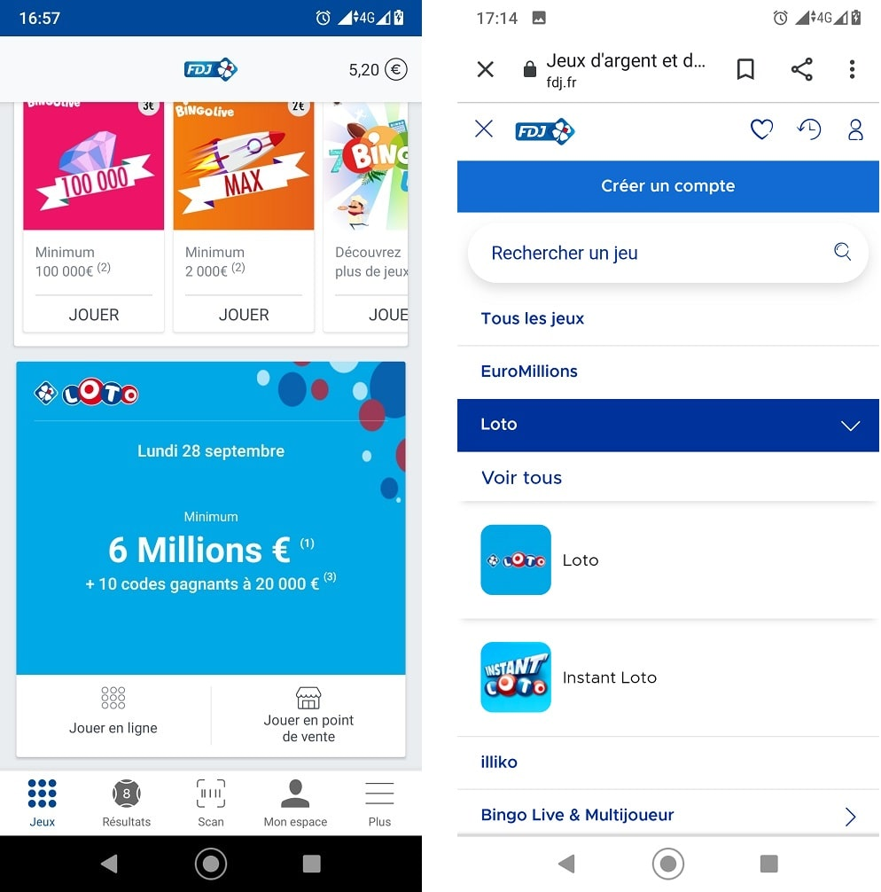 Site mobile FDJ ou application FDJ : se rendre au jeu Loto