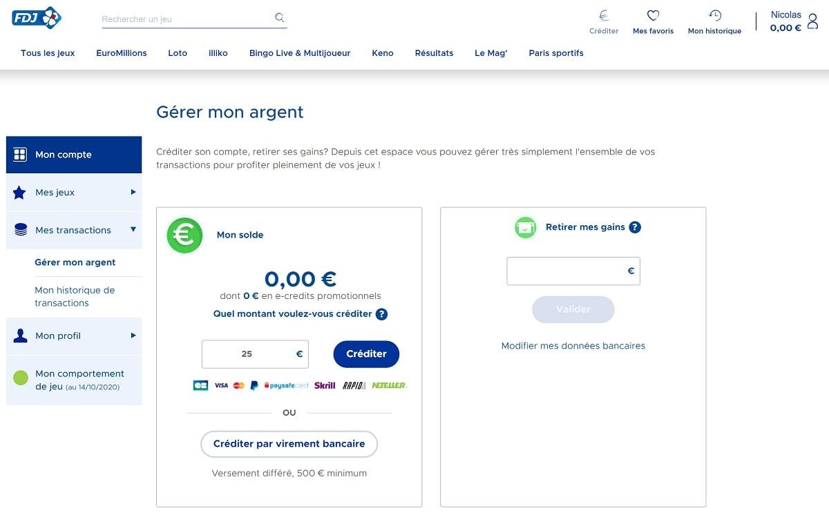 Créditer votre compte FDJ.fr en ligne