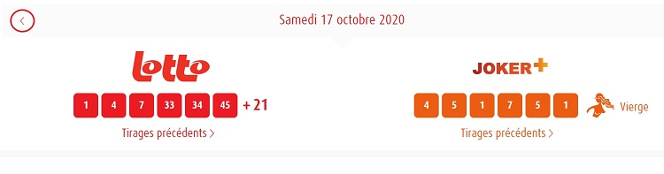 résultat Lotto belge et joker+ du samedi 17 Octobre 2020