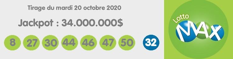 Résultat du tirage Lotto Max ce mardi 20 octobre 2020