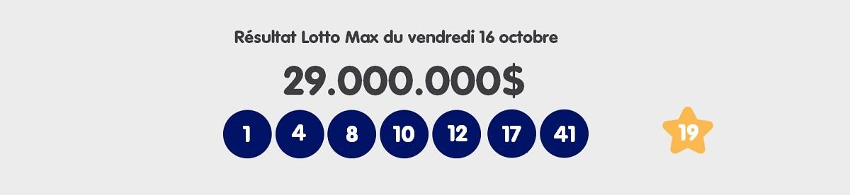 Résultat du Lotto Max québécois ce vendredi 16 octobre 2020
