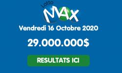Résultat Lotto Max (Québec) du vendredi 16 octobre 2020 : un gagnant à 212 000$ en Colombie-Britannique au tirage