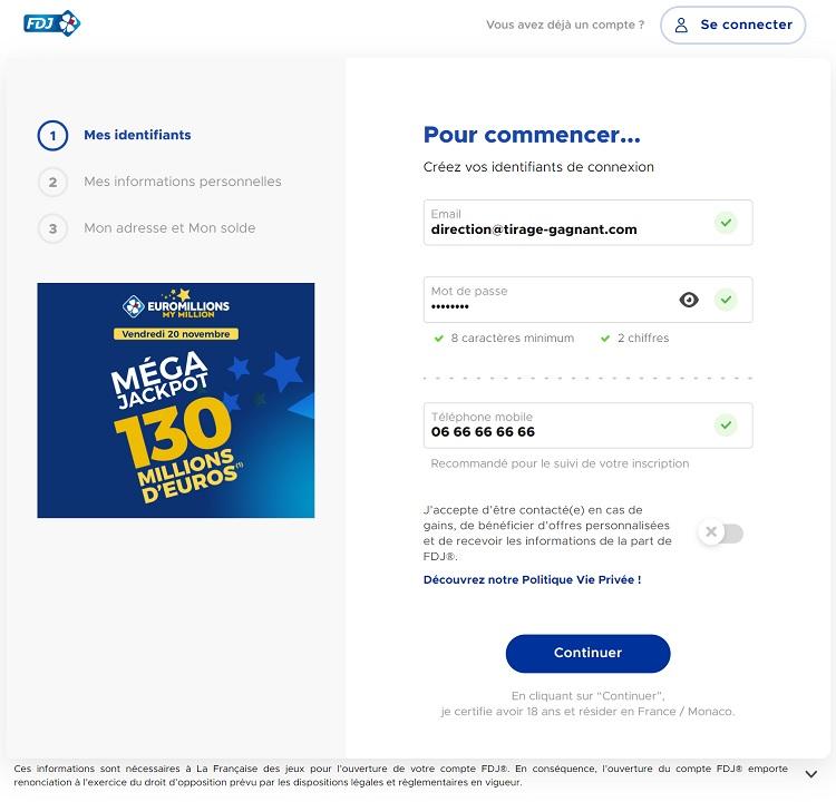 formulaire inscription sur FDJ.fr
