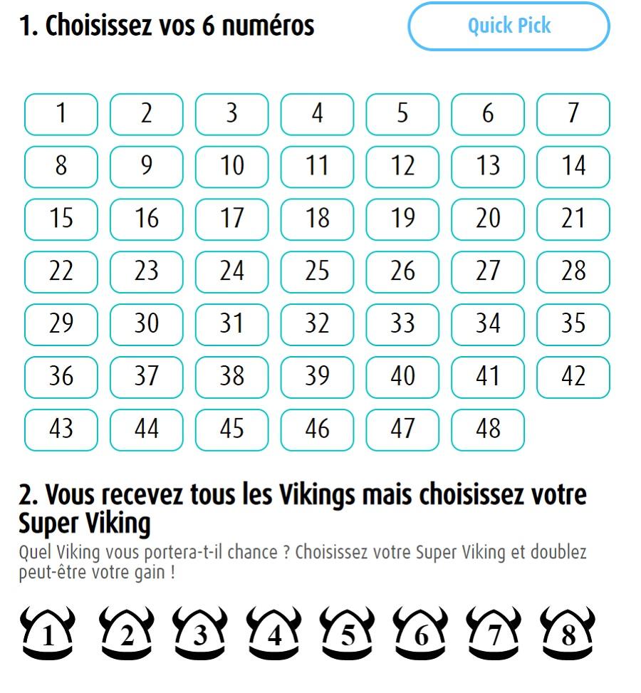 Grille du Viking Lotto en belgique