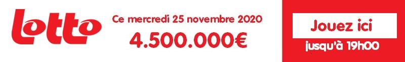 Jouer au Lotto belge du mercredi 25 novembre 2020