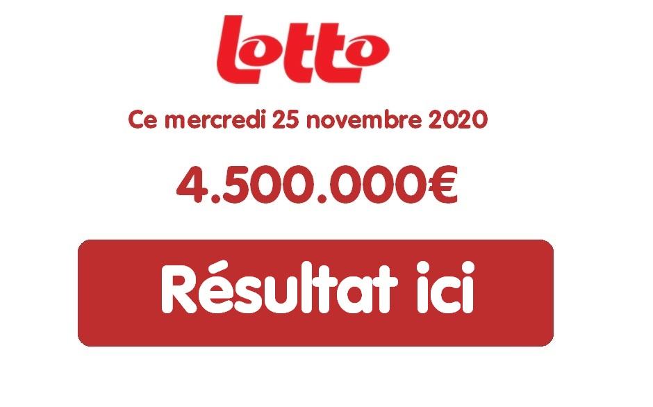 Résultat Lotto belge du mercredi 25 novembre 2020