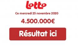 Résultat Lotto belge du mercredi 25 novembre 2020 : 3 millionnaires à 1,5 million d'euros au tirage