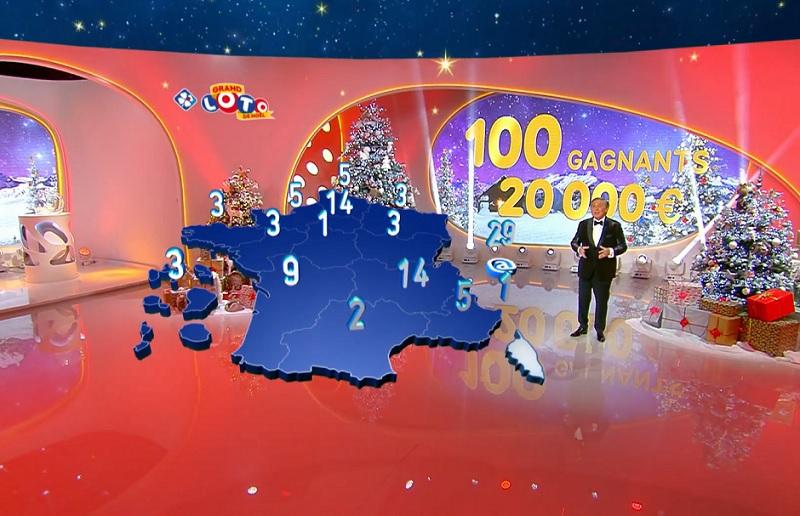 La cartographie des 100 codes gagnants de la tombola Grand Loto de Noël 2020