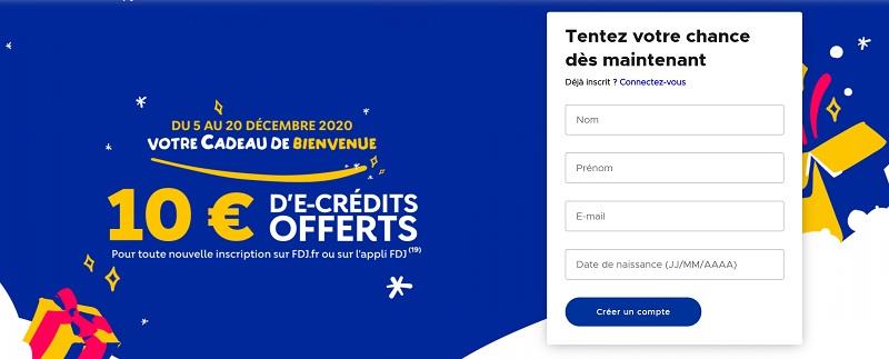 inscription FDJ.fr pour le bonus de Noël