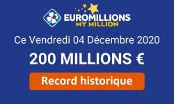 EuroMillions : le plafond de 200 millions d'euros remis en jeu ce 8 décembre 2020 [Historique]