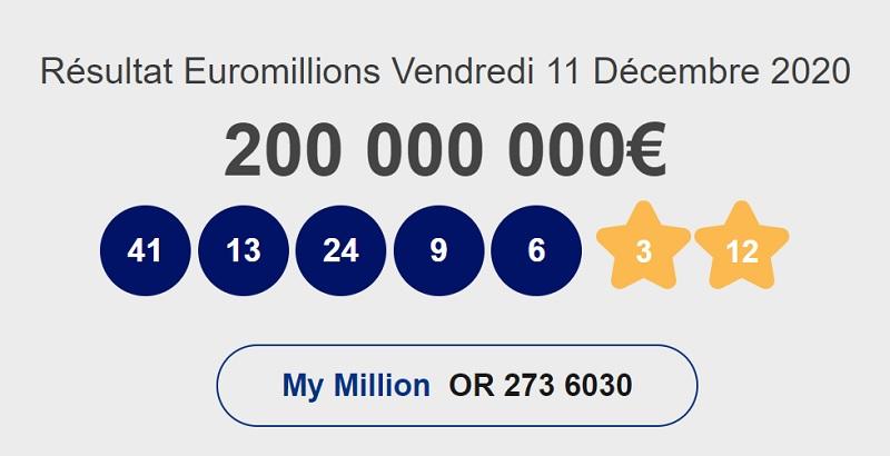 Résultat Euromillions du vendredi 11 décembre 2020