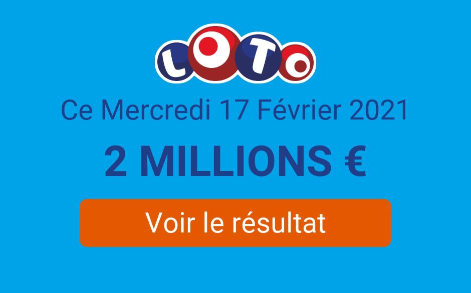 Résultat Loto FDJ du mercredi 17 février 2021 : un gagnant à 2 millions d'euros au tirage - Tirage Gagnant