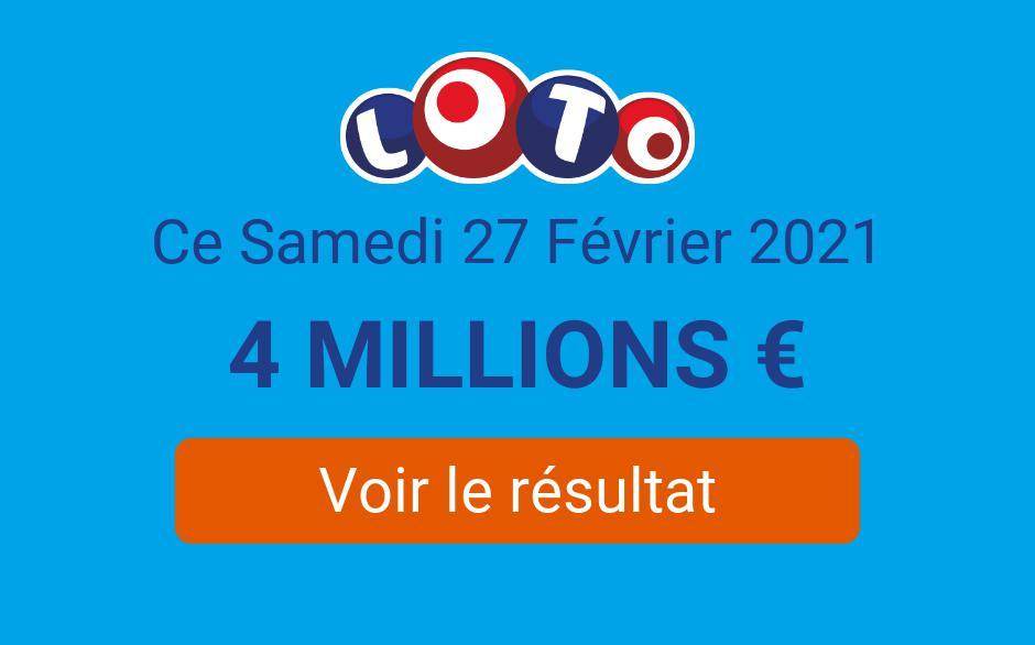 Résultat Loto FDJ du samedi 27 février 2021 : 2 gagnants remportent 81 000€ au tirage - Tirage Gagnant