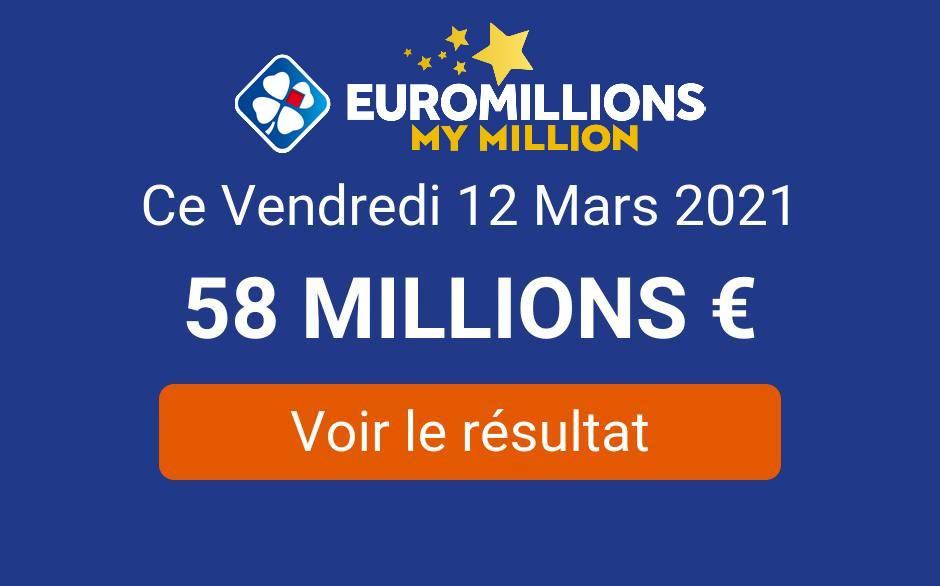 Résultat EuroMillions du vendredi 12 mars 2021 : le tirage My Million remporté en Auvergne-Rhône-Alpes - Tirage Gagnant