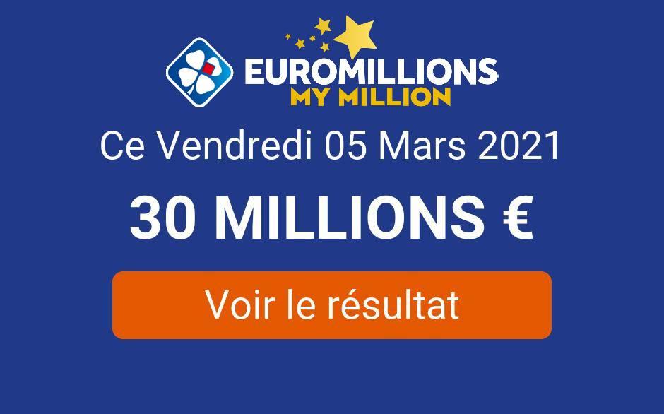 Résultat Euromillions My Million du vendredi 5 mars 2021 : 3 joueurs remportent 267 000€ au tirage - Tirage Gagnant