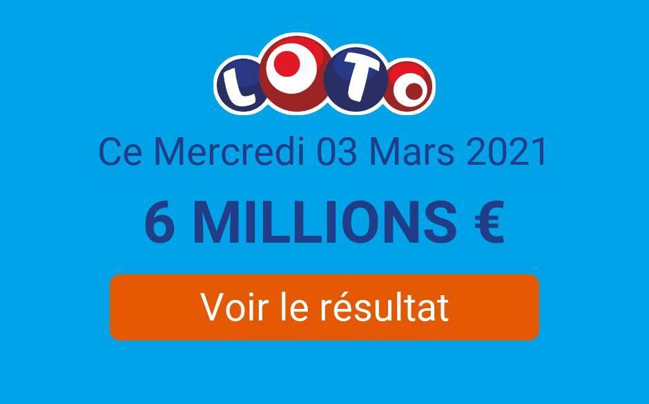 Résultat Loto FDJ du mercredi 3 mars 2021 : les tirages sont en ligne, sans millionnaire - Tirage Gagnant